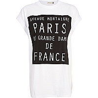 White Paris de France print t-shirt