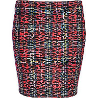 Red tartan animal print mini tube skirt