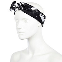 Black and white palm tree print square scarf