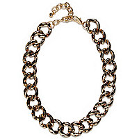 Gold tone leopard print curb chain necklace