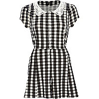 Black gingham crochet collar playsuit