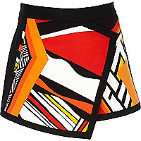 Orange abstract print skort