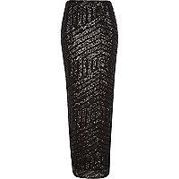 Black sequin embellished maxi skirt