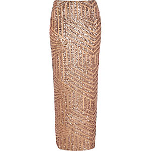 Bronze sequin embellished maxi skirt