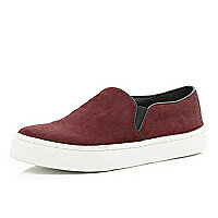 Dark red pony skin plimsolls