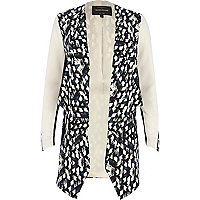 Black abstract print waterfall jacket