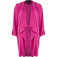 Dark pink roll sleeve waterfall jacket