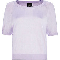 Lilac fine knit short sleeve jumper