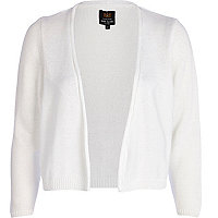 White cropped open front cardigan