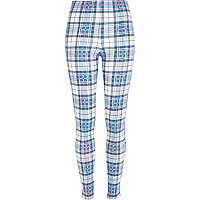 Blue tartan high waisted leggings