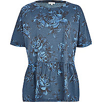 Blue floral peplum t-shirt