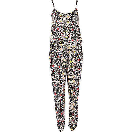 Blue mirrored abstract print cami jumpsuit