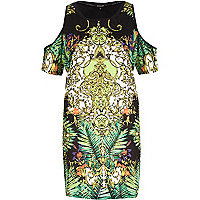 Green scarf print cold shoulder t-shirt dress