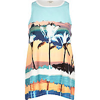 Blue palm tree print woven front tank top