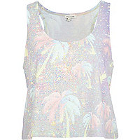 Purple palm tree print racer back crop top