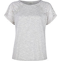 Light grey lace shoulder t-shirt