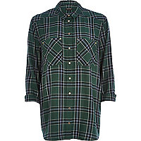 Dark green check boyfriend shirt