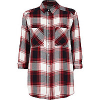 Red check boyfriend shirt