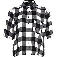 Black and white check boxy cropped shirt