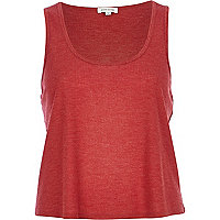 Red rib loose fit tank top