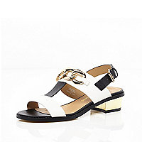 Black and white T bar chain trim sandals