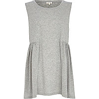 Grey marl smock top