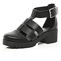 Black chunky cut out cleated sole shoes
