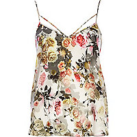 Grey floral strappy cami top