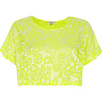 Bright yellow burnout floral cropped t-shirt