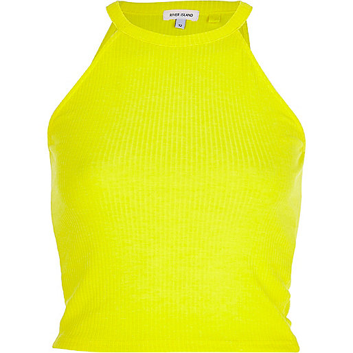 Yellow high neck ribbed crop top