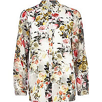 Grey floral print long sleeve shirt