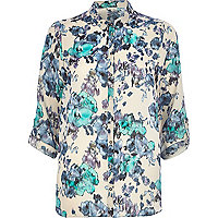 Cream floral print roll sleeve shirt
