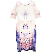 Pink palm tree cold shoulder t-shirt dress