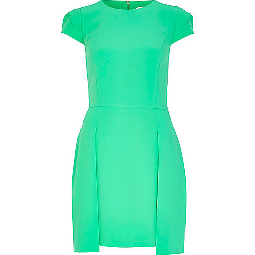 Green stepped hem shift dress