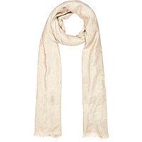 Cream floral jacquard lightweight scarf