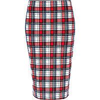 Red tartan pencil skirt