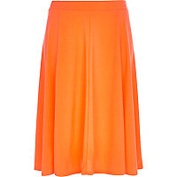 Bright orange midi skirt