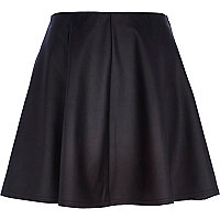 Black coated skater skirt