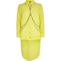 Yellow dip hem body harness shirt