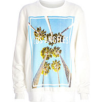 White Los Angeles palm tree print sweatshirt