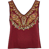 Dark red embellished neckline crop top
