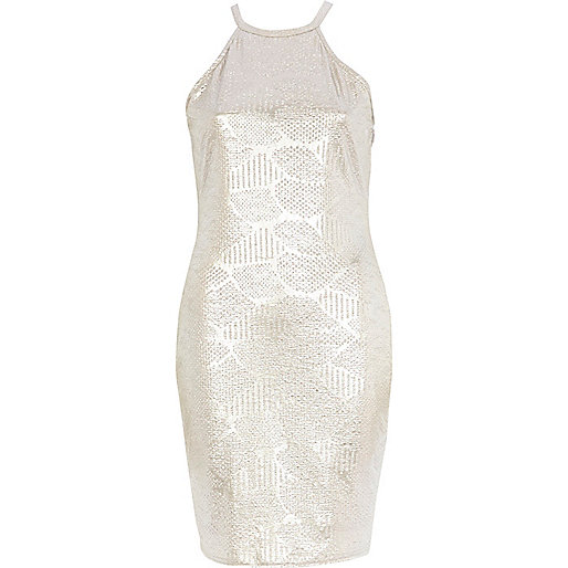 Pale gold snake textured racer front dress