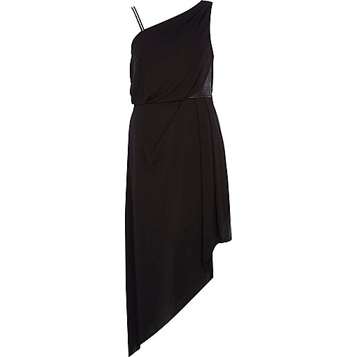 Black one shoulder asymmetric maxi dress