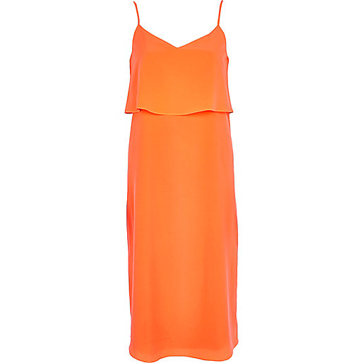 Orange double layer slip dress