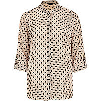 Nude polka dot roll sleeve shirt