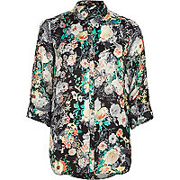 Black floral print roll sleeve shirt