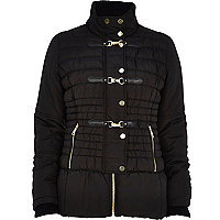 Black padded buckle trim jacket