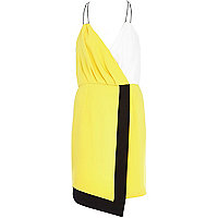 Yellow colour block wrap cami dress
