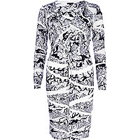 Black graphic print long sleeve dress