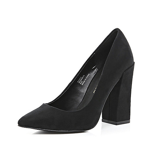 Black angular block heel court shoes
